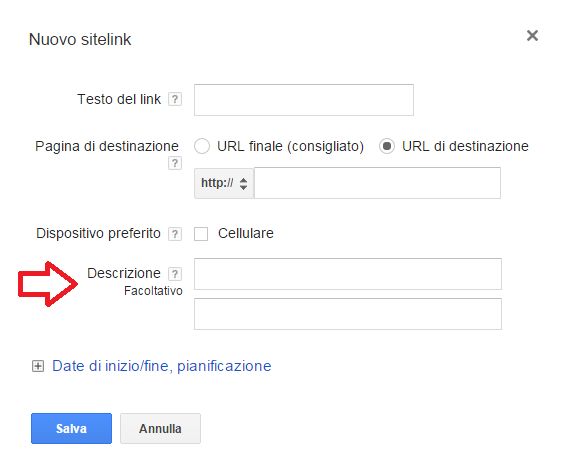 estensione sitelink