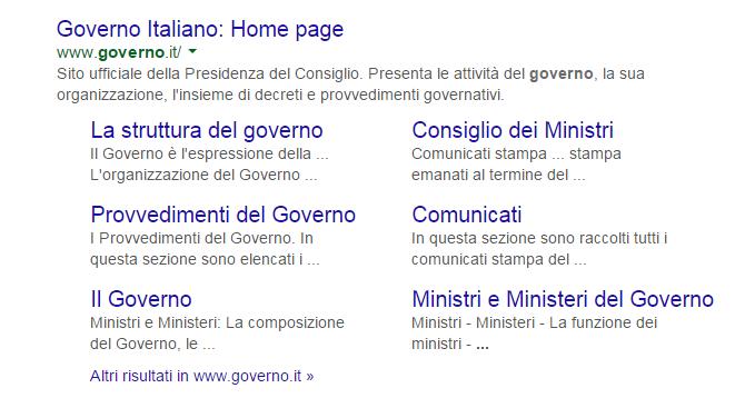 governo.it su google
